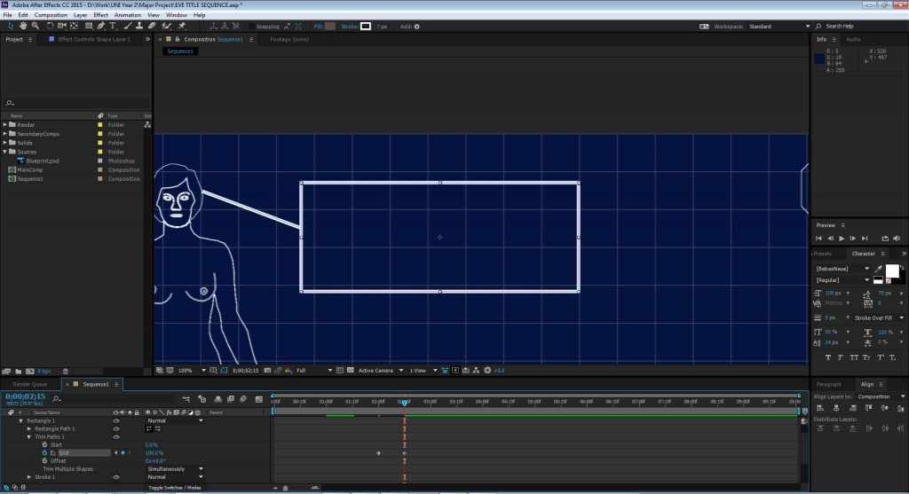 Title sequence blog james lehart productions i next added a trim paths effect to both the line and rectangle retrospectively using the stop clock i key framed the paths so that they animate as malvernweather Image collections
